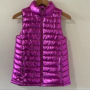 Ideology Metallic Pink Puffer Full Zip Vest -Large